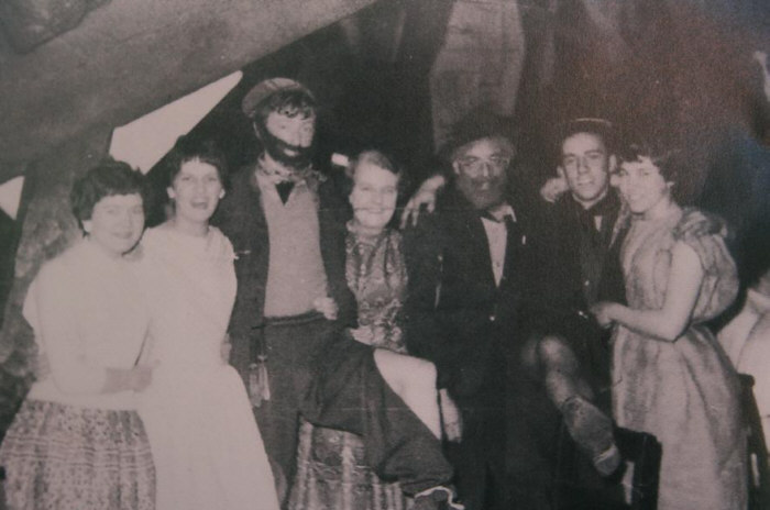 Irene Morris, Pauline Yarnold, Jeff Taylor, Mrs Bailey, Mr Harry Bailey, Al Heffron and Edna Harrison. The Tramps Ball at Rivington Barn 1957.