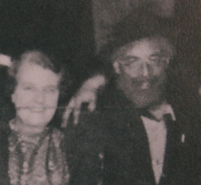 Mrs Bailey and Mr Harry Bailey at the Tramps Ball at Rivington Barn 1957.