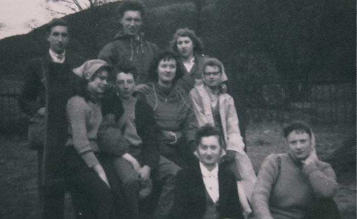 Joe Harrison, ?, ?, ?, ?, Edna Harrison, Barbara Wheeler, ?, Margaret Paul. Euxton Parish Youth Group Winter Hill Hiking Trip 1957.